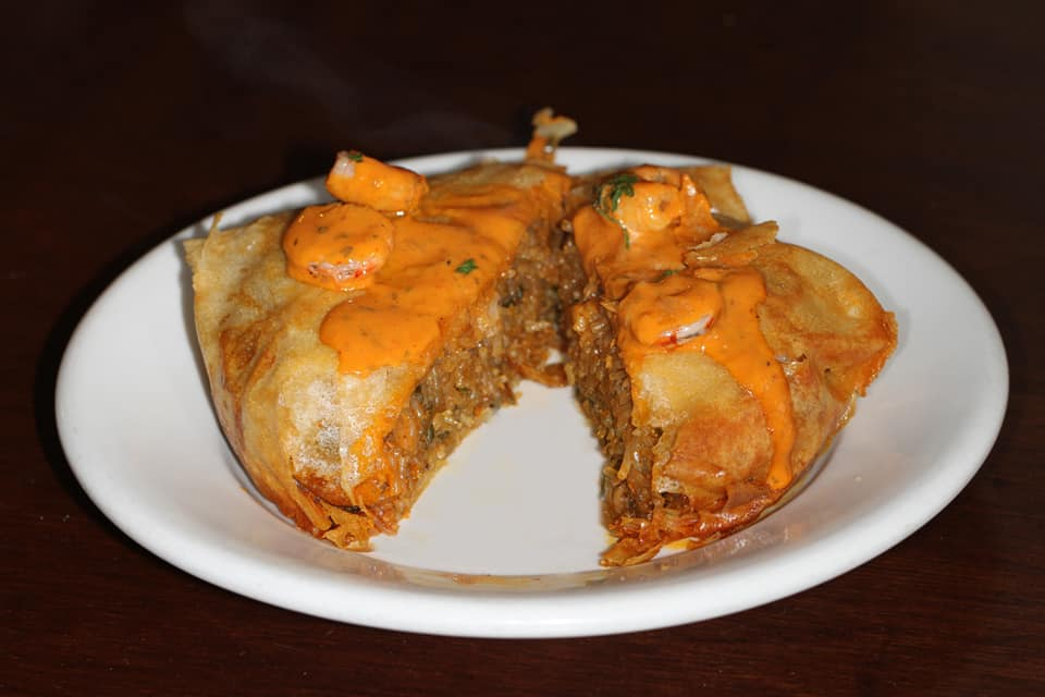 Pastela de marisco Casa Moha Punta Umbría comida marroquí y mediterránea